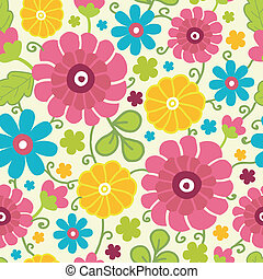 Colorful kimono flowers seamless pattern background - Vector...