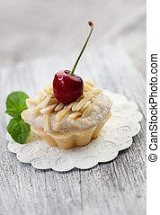 Fruit cupcake - Fruit dessert. Cherry cupcake. Sweet food