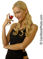 blonde girl in evening dress with wine