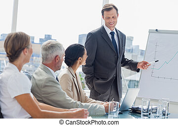 Smiling businessman pointing at whiteboard during a meeting...