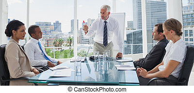 Boss gesturing in front of colleagues during a meeting