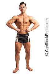 Bodybuilder posing over white background - Young bodybuilder...