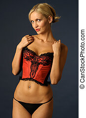 blonde girl in underwear - Beautiful blonde girl in red...