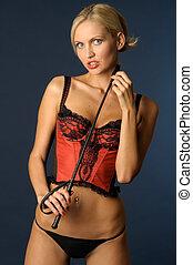 blonde girl in underwear with switch