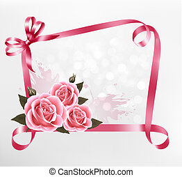 Holiday background. Colorful flowers with pink bow and ribbon. Vector