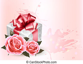 Holiday background with pink roses and gift box.Vector
