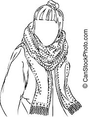 Girl With Big Scarf Isolated Vector - Isolated vector hand...