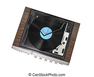 Vintage Stereo Turntable Isolated - Vintage stereo turntable...