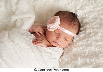 Portrait of a Beautiful Newborn Baby Girl - Headshot of a...