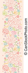 Pink roses vertical seamless pattern background border