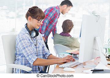 設計師, 電腦, 工作