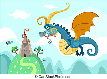 dragon with castle