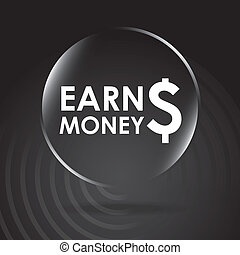 earn money over black background vector illustration