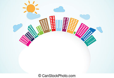 colorful urban scene on circle - Vector Illustration of...