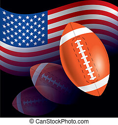 Flag of United States with American football, rugby - The...