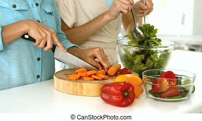 Women preparing a vegetarian salad with peppers carrots and...