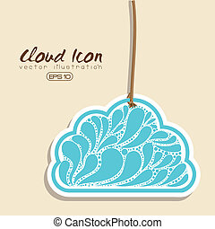 cloud icon over pink background vector ilustration