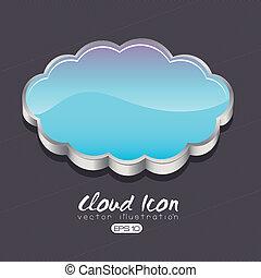 cloud design over black background vector illustration