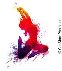 Dancing girl with grungy splashes