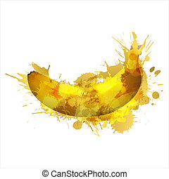Banana made of colorful splashes on white background