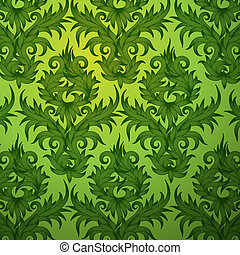 Damask green floral seamless pattern - Damask green floral...