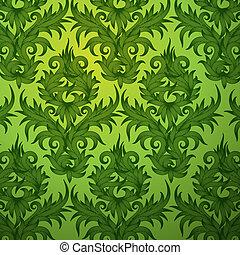 Damask green floral seamless pattern - Damask green floral...
