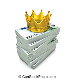 Euro Notes Crown - Euro notes with golden crown on the white...