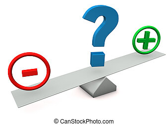 Plus Minus Question Mark - Balance with plus, minus and...