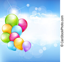 multi-colored balloons - vector holiday background with...