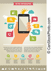 mobile phone with icons - infographic and website background...