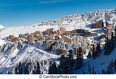 Town of Avoriaz - Cityscape of the town of Avoriaz in the...