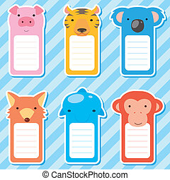cute animals set of scrapbook elements - six cute animals...
