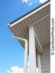 Wooden house - Wood house construction, roof and gutter