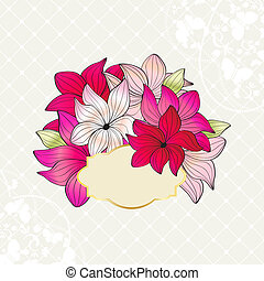 Greeting card with bouquet of pink flowers - Greeting card...