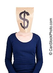 paper bag head with dollar sign - a person with paper bag...