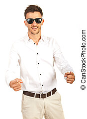 Cheerful business man pointing to you - Cheerful business...