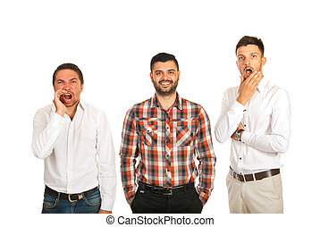 ilsket, lycklig, män, rädd, affär