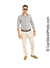 Casual business man with sunglasses isolated on white...