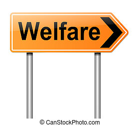 Welfare concept - Illustration depicting a sign with a...