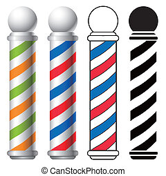 barber shop pole - illustration of barber shop pole set,...