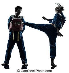 karate vietvodao martial arts man woman couple silhouette -...