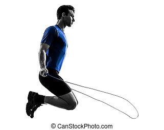 silhouette, esercitarsi, giovane, corda, Saltare, uomo