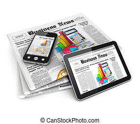 3d business news, isolated white background, 3d image