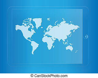 world map on glass tablet screen