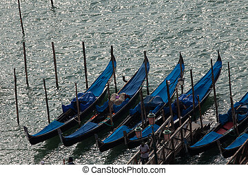 Venice - Parking gondolas nearby the Doges Palace