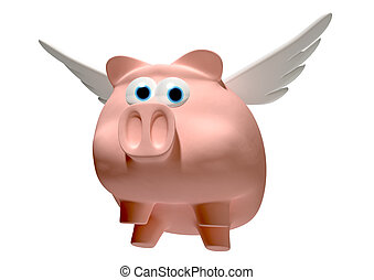 A literal description of a pink pig with a set of wings...
