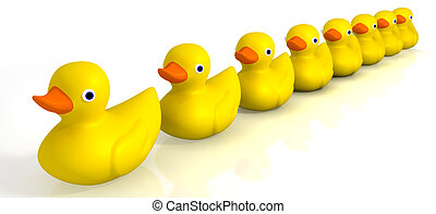 Your Toy Rubber Ducks In A Row - A row of organised and...