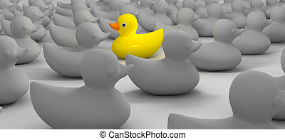 Rubber Duck Against The Flow - A non-conformist depiction of...
