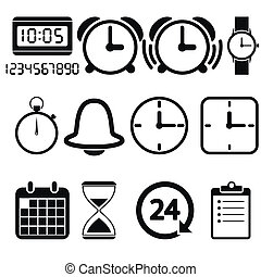 Clock and time icons