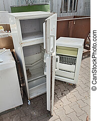hazardous waste - fridges dump, broken fridge containing...